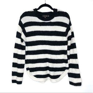 Love Tree Curved Hem Black & White Stripe Sweater
